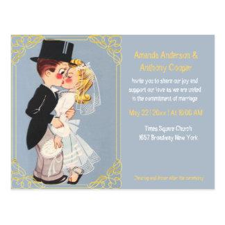 Plantilla linda y divertida del boda del dibujo postal