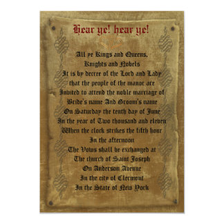 Plantilla medieval del decreto de la invitación