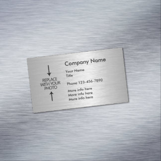 Plantilla metálica de plata de la foto de la tarjeta de visita magnética