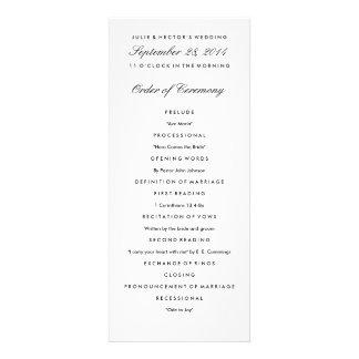 Plantilla negra y blanca del programa del boda comunicados personalizados