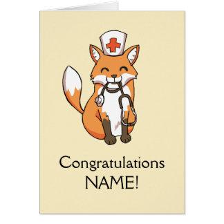 Plantilla personalizada enfermera del Fox de la Tarjeta De Felicitación