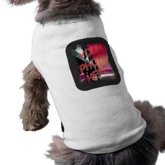 Plantilla punteada oscuridad del marco de la foto camiseta sin mangas para perro