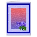 plantilla púrpura azul de la flor felicitación