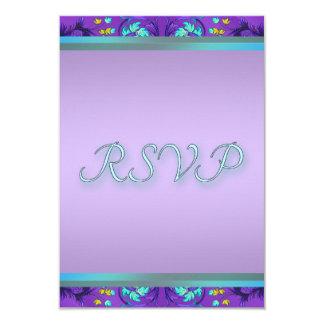 Plantilla púrpura azul verde azulada de RSVP