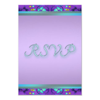 Plantilla púrpura azul verde azulada de RSVP Invitación 8,9 X 12,7 Cm
