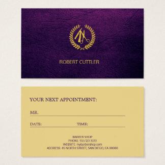 Plantilla púrpura de lujo de la cita del logotipo tarjeta de visita