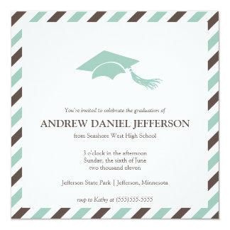 Plantilla rayada de la invitación de la graduación invitación 13,3 cm x 13,3cm