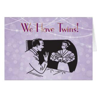 Plantilla retra de la tarjeta del vintage gemelo