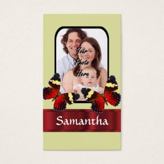 Plantilla roja de la foto de las mariposas tarjeta de negocios