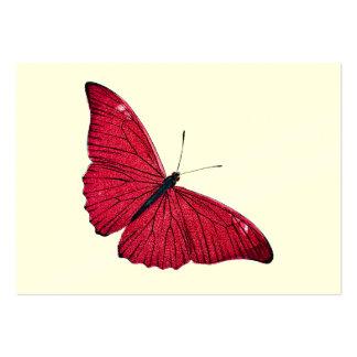 Plantilla roja del ejemplo de la mariposa de los 1 tarjetas de visita grandes