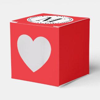 Plantilla roja del monograma cajas para detalles de boda