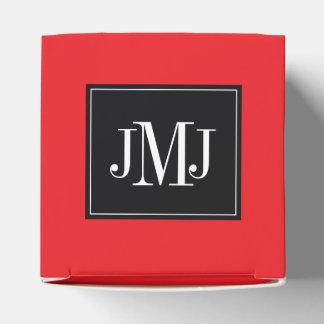 Plantilla roja del monograma cajas para regalos de boda