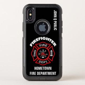 Plantilla roja del nombre del bombero