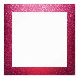 Plantilla rosada de la frontera del brillo invitación 13,3 cm x 13,3cm