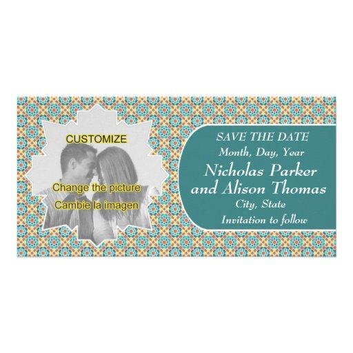 Plantilla SAVE THE DATE mosaicos con arabescos Tarjetas Fotográficas