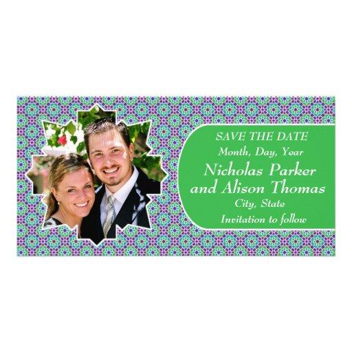 Plantilla SAVE THE DATE mosaicos con arabescos Tarjetas Fotograficas