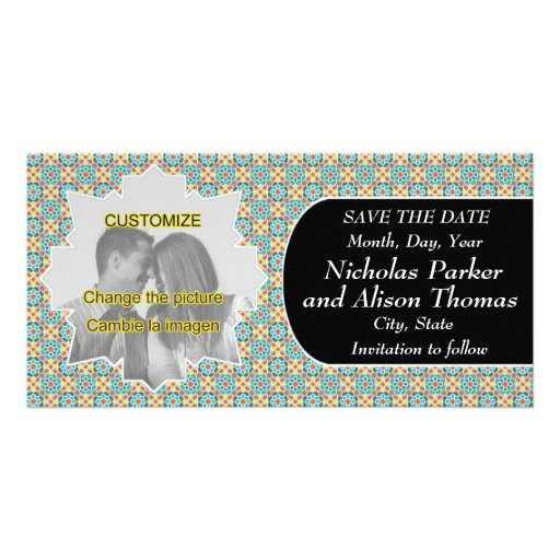 Plantilla SAVE THE DATE mosaicos con arabescos Tarjeta Personal