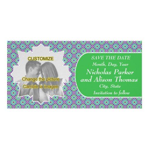 Plantilla SAVE THE DATE mosaicos con arabescos Tarjeta Fotografica Personalizada