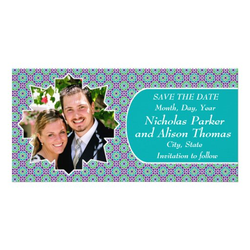 Plantilla SAVE THE DATE mosaicos con arabescos Tarjeta Personal Con Foto