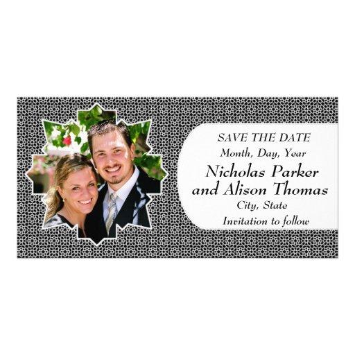 Plantilla SAVE THE DATE mosaicos con arabescos Tarjeta Fotográfica Personalizada