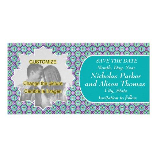 Plantilla SAVE THE DATE mosaicos con arabescos Plantilla Para Tarjeta De Foto