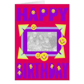 plantilla sonriente/marco del feliz cumpleaños tarjeta de felicitación