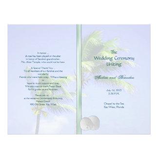 Plantilla tropical náufraga del programa del boda tarjetones