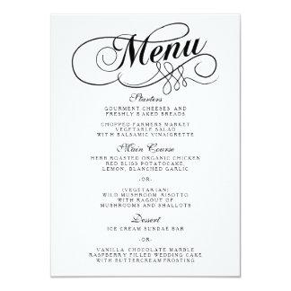 Plantillas blancos y negros elegantes del menú del invitación 11,4 x 15,8 cm