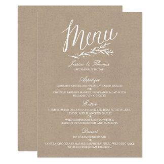 Plantillas elegantes del menú del boda de Kraft