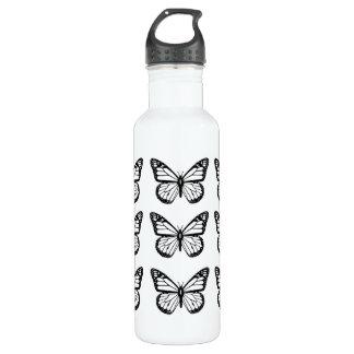 Plantillas negras de la mariposa botella de agua