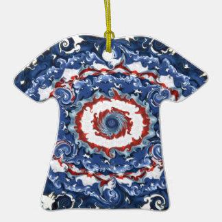 Plasticidad patriótica adorno de cerámica en forma de camiseta