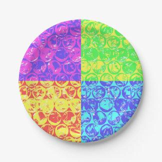Plástico de burbujas del arte pop del arco iris plato de papel