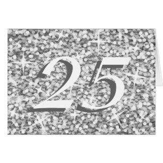 "Plata"" ""25"" del Glitz ""tarjeta del aniversario Tarjeta De Felicitación"