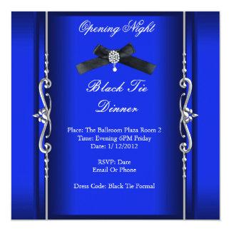 Plata azul formal del lazo negro de la noche de la invitación 13,3 cm x 13,3cm