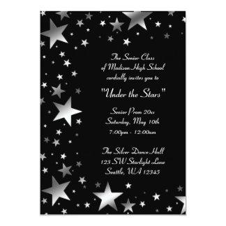 Plata bajo baile de fin de curso de las estrellas invitación 12,7 x 17,8 cm
