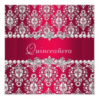 Plata blanca roja del décimo quinto fiesta del invitación 13,3 cm x 13,3cm