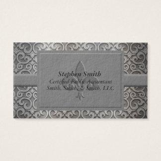 Plata clásica y tarjeta de visita gris del damasco