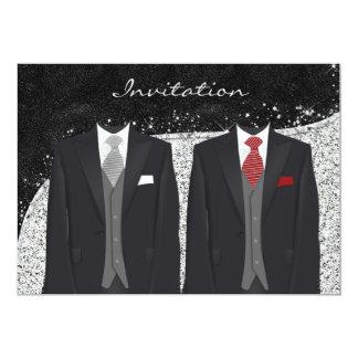 Plata de encargo e invitación gay gris del boda invitación 12,7 x 17,8 cm