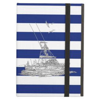 Plata de la pesca de la aguja en rayas náuticas
