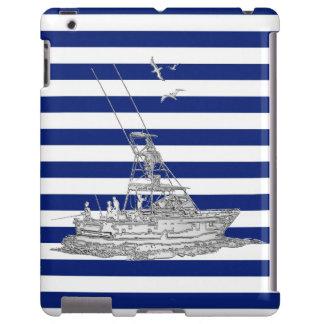 Plata de la pesca de la aguja en rayas náuticas funda para iPad