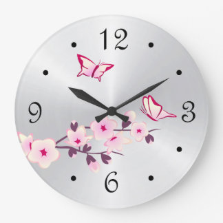 Plata de las flores de cerezo de las mariposas reloj redondo grande
