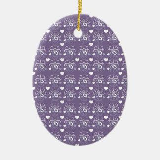 Plata de los anillos de bodas en púrpura oscura adorno ovalado de cerámica