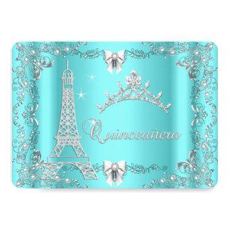 Plata de princesa Quinceanera Magical Teal Blue Invitación 12,7 X 17,8 Cm
