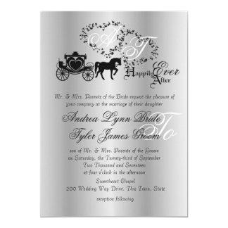Plata del carro del boda del cuento de hadas invitación 12,7 x 17,8 cm