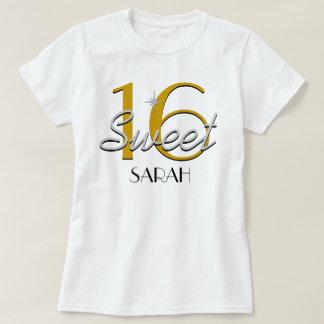 Plata del dulce 16/chispa del oro camiseta
