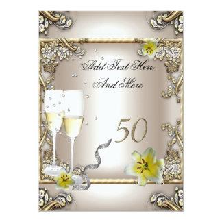 Plata del lirio del oro de la crema del boda del invitación 11,4 x 15,8 cm