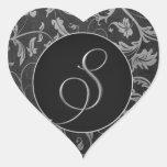 Plata del monograma S y sello negro del boda del Calcomania De Corazon Personalizadas