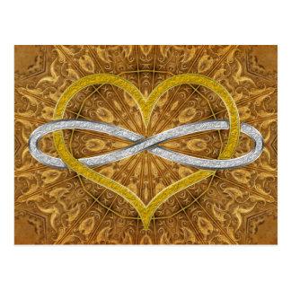 Plata del oro del infinito del corazón postal