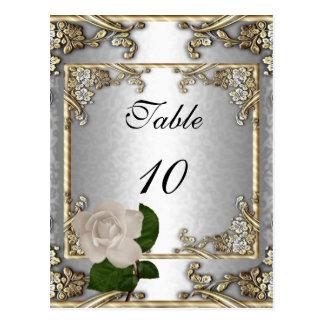 Plata elegante del oro del boda de la tarjeta del  postal