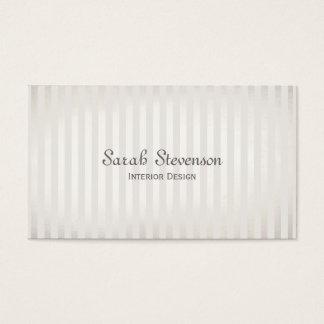 Plata elegante del vintage y rayas blancas tarjeta de visita
